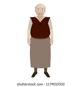 Medieval Male Merchant Character Illustration