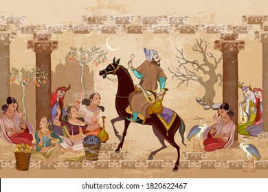 Medieval miniature. Mughal art. Persian frescoes. Travel of heroes. Ancient civilization murals. Ottoman Empire. Fairy tales and legends of the Middle East