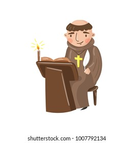 Medieval monk scribe character writing a chronicle of contemporary events cartoon vector Illustration