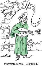Medieval musician with the lute at the ruins of the castle. Vector