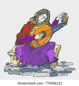 Medieval musician tunes his lute. Vector