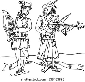 Medieval musicians with ribbon viola and harp. Vector