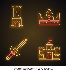 Medieval neon light icons set. Castle tower, king crown, metal sword, lord castle. Glowing signs. Vector isolated illustrations