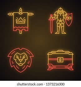 Medieval neon light icons set. King flag, lion head shield, treasure chest, knight in full suit of armor with sword and shield. Glowing signs. Vector isolated illustrations