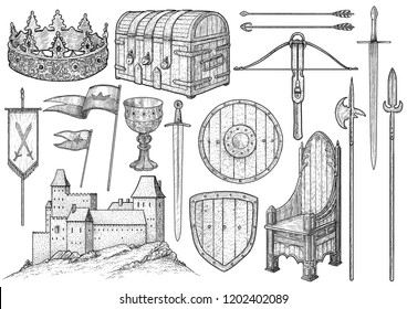 Medieval object, collection, illustration, drawing, engraving, ink, line art, vector