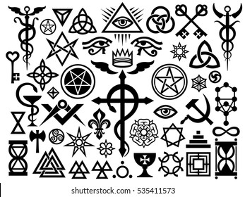 Medieval Occult Signs And Magic Stamps, Sigils, Locks, Knots.  Mystic symbols (Revisited issue: Origin set)