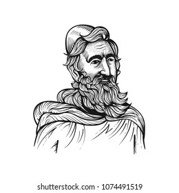 Medieval old rabbi in engraving style. Sketch with transparent background, vector illustration