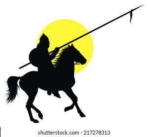 Medieval oriental warrior on horseback detailed vector silhouette