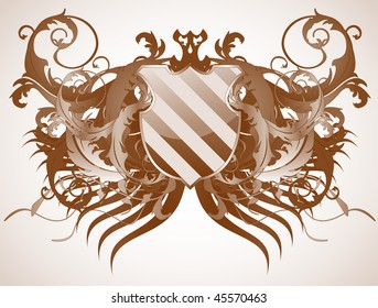 A medieval ornate heraldic shield