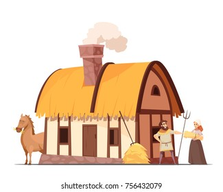 Medieval peasant family household with hatched roof house backyard horse and stack of hay cartoon vector illustration