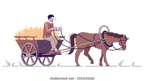 Medieval peasant riding horse cart flat vector illustration. Farmer with animal isolated cartoon characters with outline elements on white background. Middle Age agriculture and farming