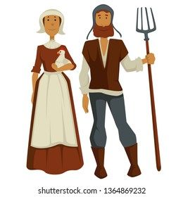 Medieval peasants family man and woman isolated characters vector wife in dress and apron holds chicken or hen and husband with forks ancient farmers or agricultural workers villagers or rural people.