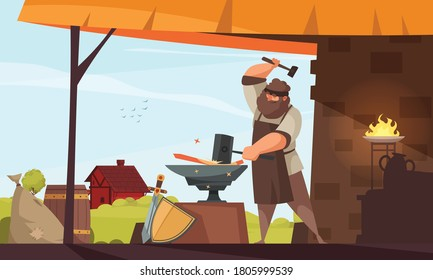 Medieval people blacksmith composition large muscular man forges iron object in the smithy vector illustration