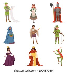 Medieval people characters of European middle ages historic period vector Illustrations