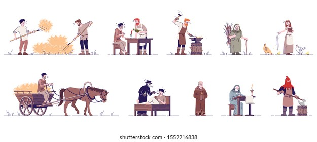 Medieval people flat vector illustrations set. Historical peasants, farmer, blacksmith, executioner, priest, doctor isolated cartoon characters with outline elements on white background