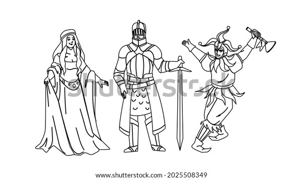 Medieval People Lady, Knight And Jester Black Line Pencil Drawing Vector. Medieval Woman Wearing Attractive Dress, Warrior In Armor Holding Sword And Funny Man. Historic Period Characters Illustration