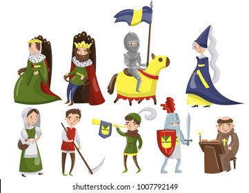 Medieval people set, characters of middle ages historic period vector Illustrations