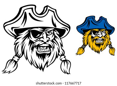 Medieval pirate in cartoon style for mascot or tattoo design. Jpeg version also available in gallery