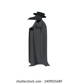 Medieval plague doctor with black hat and long textile coat