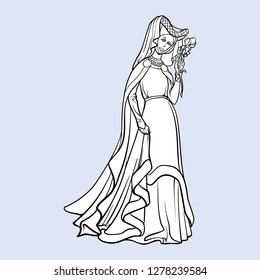 Medieval princess with a characteristic gothic slouching posture. Medieval gothic style concept art. Design element. Black a nd white drawing isolated on grey background. EPS10 vector illustration