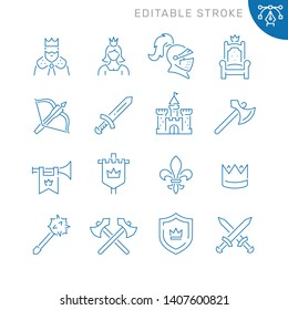 Medieval related icons. Editable stroke. Thin vector icon set