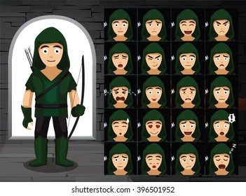 Medieval Robin Hood Cartoon Emotion Faces Vector Illustration