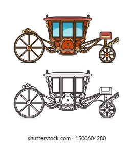 Medieval royal carriage icons or isolated wedding chariot, retro buggy. Coach of patriarchs or stagecoach brougham transport, fairytale waggon or dormeuse vehicle contour, cartoon cab for marriage