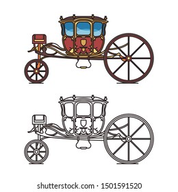 Medieval royal chariot for king or prince. Vintage carriage for queen or old buggy for fairytale princess. Classic victorian horse transport or antique vehicle, perth-cart. Icon of brougham. Marriage