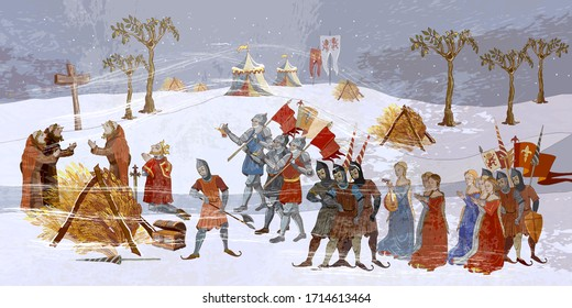 Medieval scene. Ancient book illustration. Monks pray for a miracle. Cold winter of the Middle Ages, parchment concept. Historical art