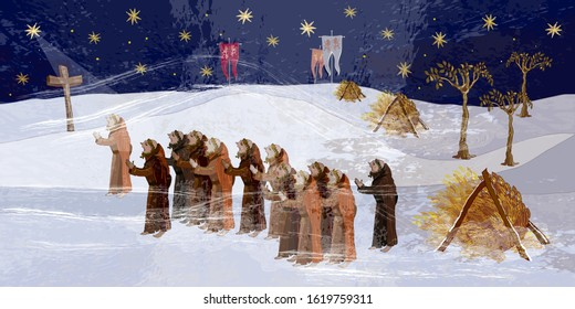 Medieval scene. Cold winter of the Middle Ages, parchment concept. Historical art. Ancient book illustration. Monks pray for a miracle