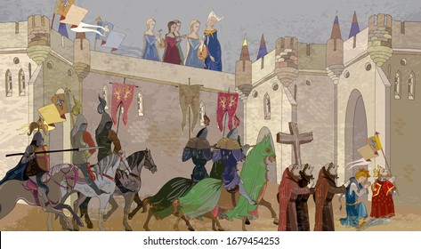 Medieval scene. Crusaders in an armor. Knightly tournament. Middle Ages, parchment concept. Historical miniature art. Soldiers of the kingdom. Ancient book vector illustration