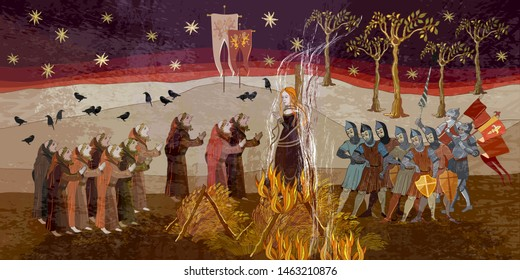 Medieval scene. Inquisition. Burning witches. Middle Ages parchment style. Joan of Arc (Jeanne d'Arc) concept. Monks and soldiers at a fire with the witch. Ancient book vector illustration