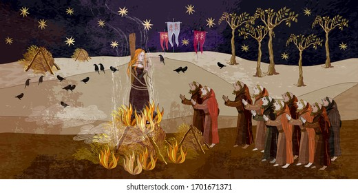 Medieval scene. Inquisition. Burning witches. Middle Ages parchment style. Joan of Arc (Jeanne d'Arc) concept. Monks at a fire with the witch. Ancient book art