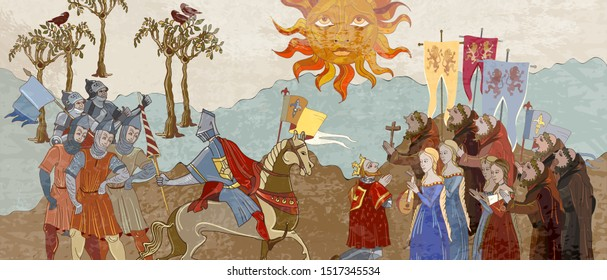Medieval scene. King and queen. Priests and soldiers protect castle. Middle Ages, parchment concept. Historical art. Ancient book vector illustration