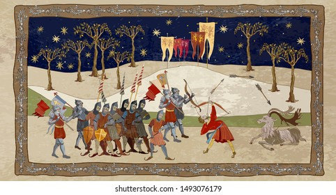Medieval scene. Robin Hood story. Soldiers protect castle. Middle Ages, parchment concept. Historical art. Ancient book vector illustration