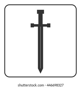 Medieval sharp sword icon. Gray silhouette, isolated on white background. Symbol ancient knight, warrior, weapon and victory, battle, templar. Flat style. Military historic design. Vector illustration