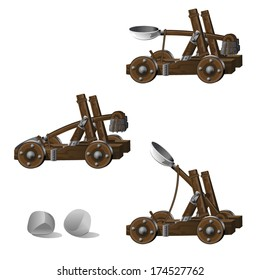 Medieval Siege Catapult with Boulders - Detailed siege catapult with ammunition and shooting animation frames