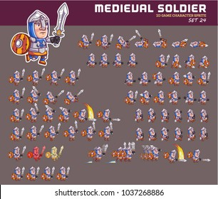 Medieval Soldier Cartoon Game Character Animation Sprite