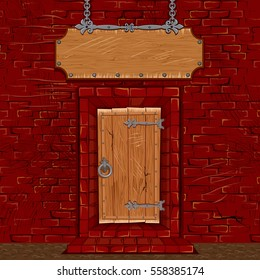 Medieval Store or Tavern Facade. Entrance Door or Gate from Wood with Empty Antique Signboard. Vector Illustration