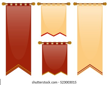 Medieval style of banners in red and brown illustration