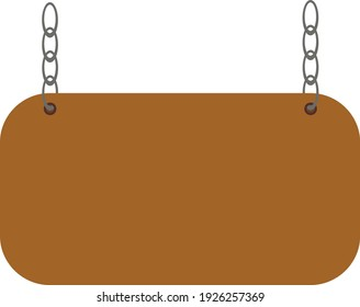 Medieval style wooden sign on chains