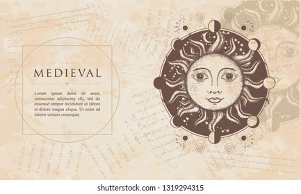 Medieval sun. Moon phases. Sacred Geometry. Esotericl alchemical symbol. Renaissance background, engraving art