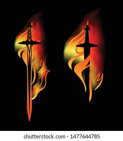 medieval sword with burning blade among fire flames - vector fantasy weapon design