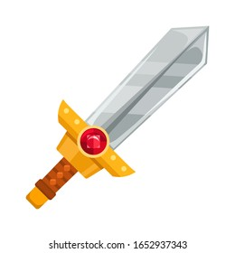 Medieval sword cartoon vector illustration on white background