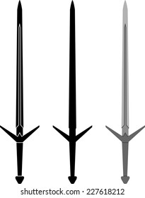 medieval sword. fifth variant. stencil and silhouette. vector illustration