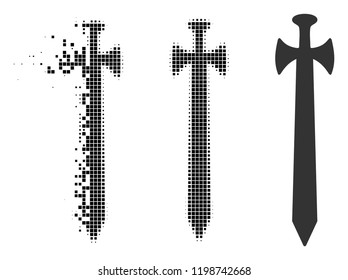 Medieval sword icon in disappearing, dotted halftone and undamaged entire variants. Elements are combined into vector disappearing medieval sword form. Disappearing effect uses square points.