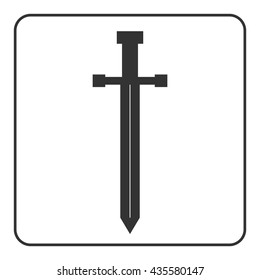 Medieval sword icon. Gray silhouette isolated on white background. Symbol of knight, warrior, weapon and victory, battle, template. Flat style Military historic traditional design. Vector illustration