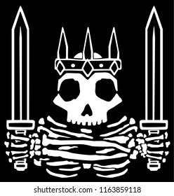Medieval swords king skeleton emblem, fantasy vector, horizontal, black background, isolated