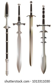 Medieval swords and short spear, vector.