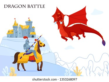 Medieval tale armored rider fighting  flying fire breathing dragon flat colorful composition castle on background vector illustration